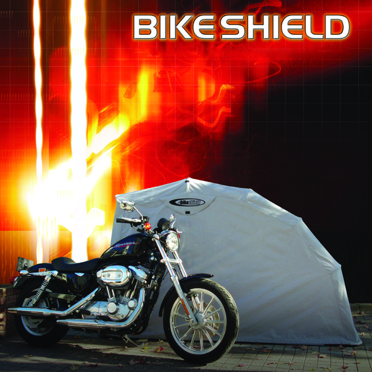 The bike Shield is an easy and self-enclosing motorcycle storage / shelter / garage / cover unit, keeping your motorbike protected against any external damage such as rain, dust, harmful sunlight and so on. Galvanized 16 square pipes, cross plate and strong locking system, keeps your motorcycle safe and secure. Strictly controlled durable fabric enables a 100% waterproof cover. Ventilation for air flow prevents inside's dampness.   www.thebikeshield.com