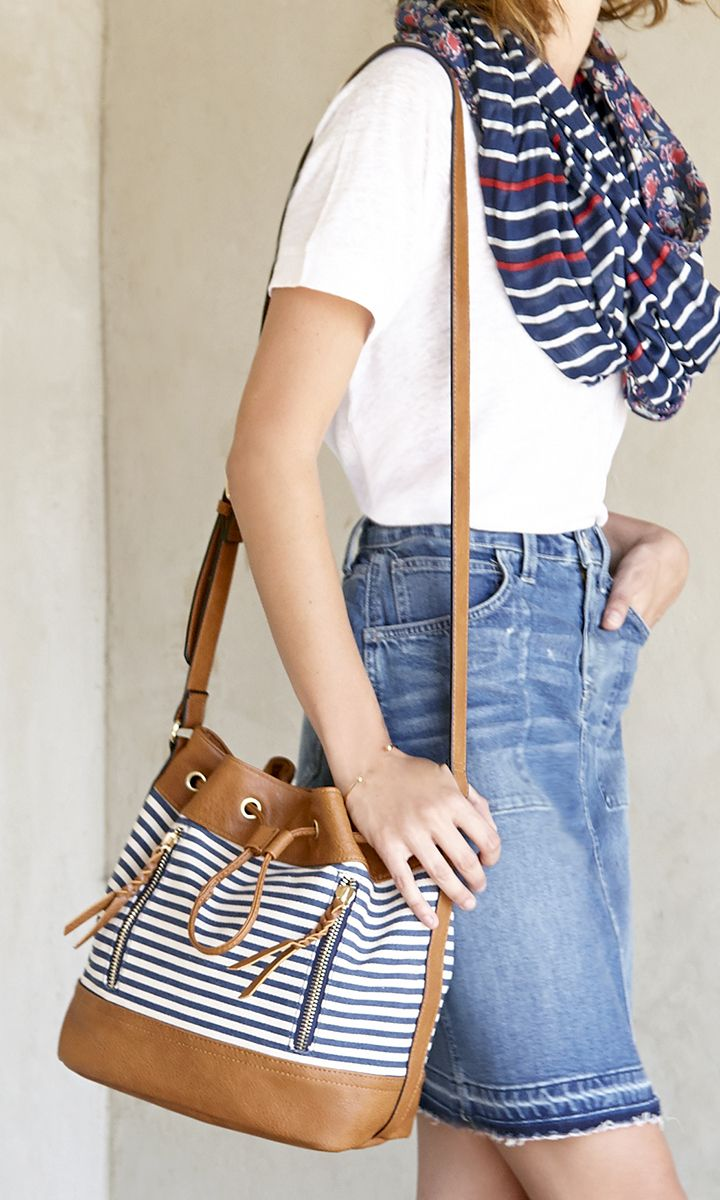 Navy & white striped canvas bucket bag