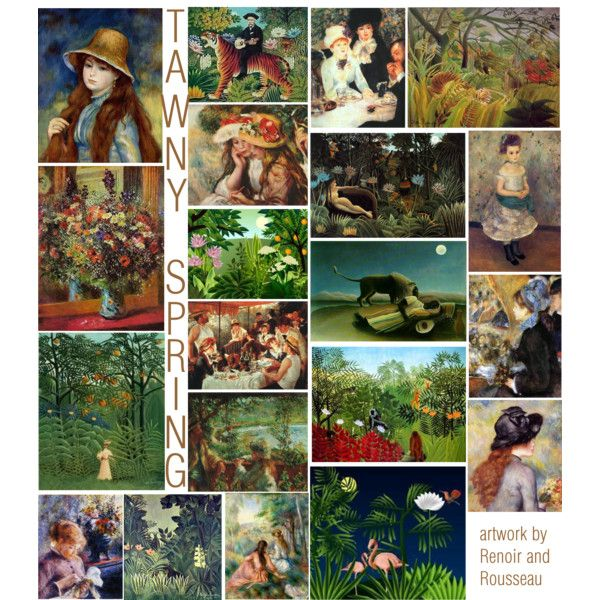 Tawny Spring by madamethirteen on Polyvore featuring art, rousseau, tawny spring, david zyla, color palette, zyla and renoir