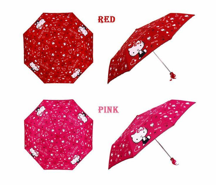 Hello Kitty Umbrella 3 Fold Automatic Auto Button Woman Lady Child Girl Pink