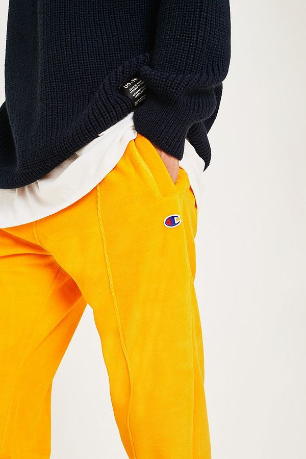 764f7e31650bb Champion Yellow Velour Track Pants