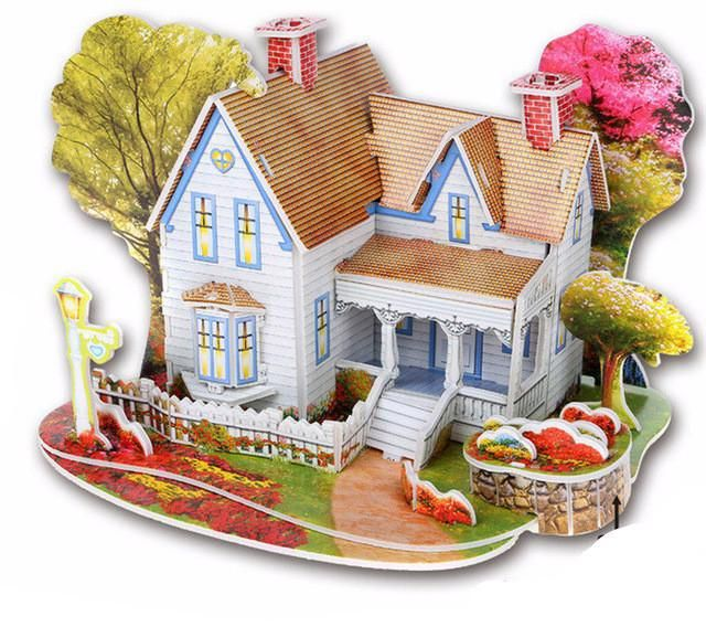 Creative DIY 3D Kids Educational Toys Jigsaw Puzzle For Children House Castle W