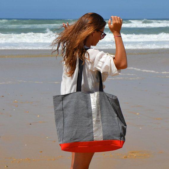 English (US) Title Optional Beach Bag.Big Tote LACANAU BEACH.Large Canvas bag. …