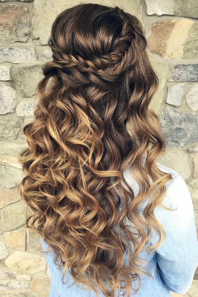 Half Up Half Down Wedding Hairstyles Ideas Long Volume Curly Hair With Braided Crown Updosbykari Curly Hair Styles Naturally Curly Hair Styles Long Hair Styles