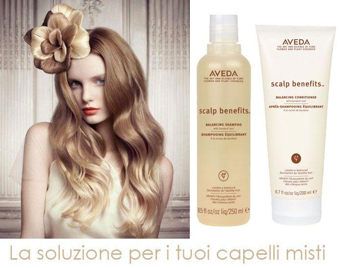SOLUZIONI PER: Capelli Misti  Scalp Benefit shampoo e conditioner di AVEDA sono l'ideale per detergere in profondità i capelli e la cute, normalizzando i capelli misti e mantenendoli puliti e lucenti. Prova a AVEDA, lo trovi su http://shop.sereni.net/soluzioni-per/capelli-misti.html