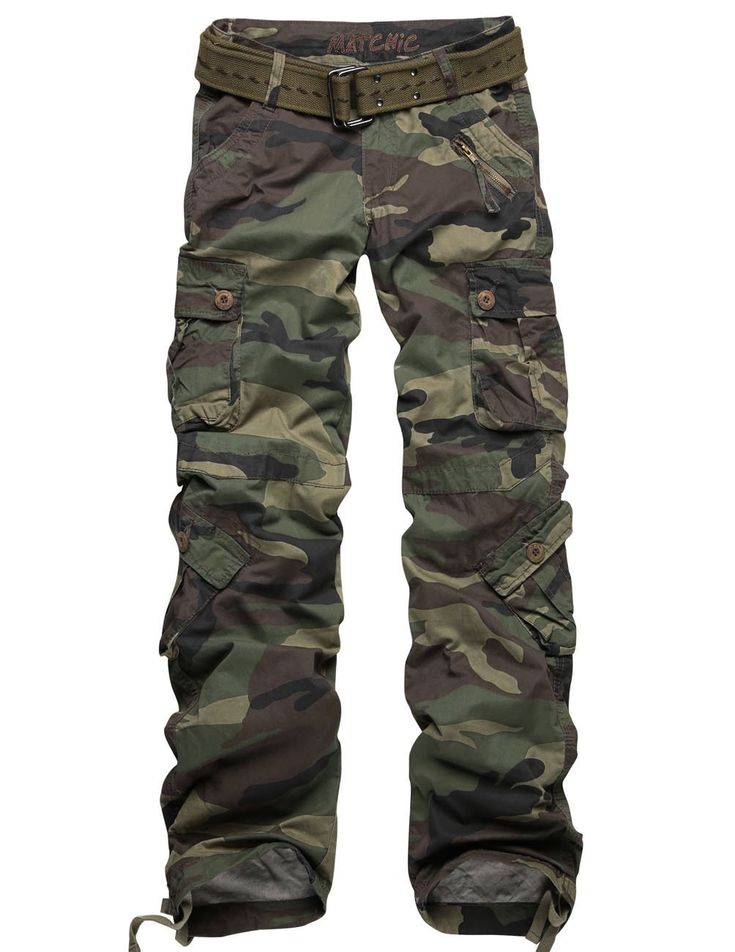 Match Women's Camo Cargo s Sports Outdoors Military #2036M http://www.amazon.com/exec/obidos/ASIN/B00AQKDA7E/hpb2-20/ASIN/B00AQKDA7E Pants are great love the fit. - Cute style but fits too tight, plus the pants are really high up on the waist almost to the belly button which is too uncomfortable for me. - Don't get the size you are cause then they may be too small.