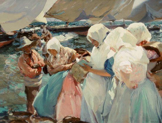 Joaquin Sorolla - Esposas de pescadores en la playa