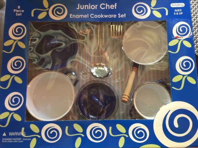 Schylling Junior Chef Enamel Cookware Set for Children Blue NIB | eBay