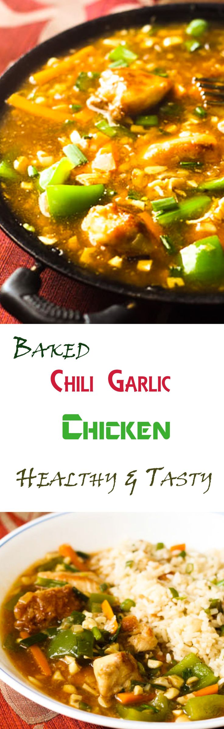 The chili garlic chicken recipe is not fried like the typical style. I have baked the chicken pieces before adding them to the gravy. Yes!!! All the calories that come with the frying have just vanished. Isn't this just so amazing. Being able to have eat healthy and eat tasty.