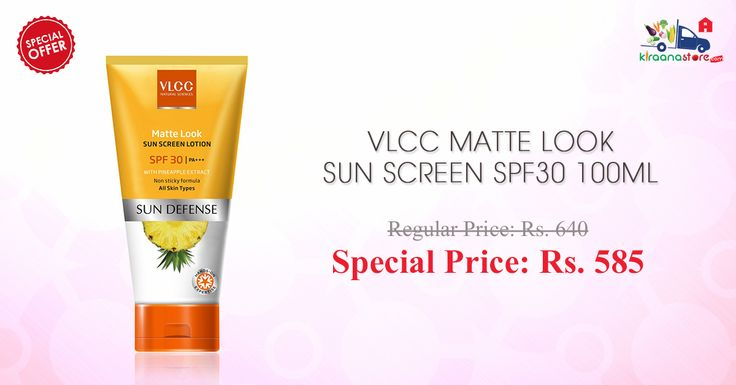 Order online #VLCC matte look sun screen lotion #SPF 30 100ML at Kiraanastore. Get Free Shipping & Cash on Delivery.