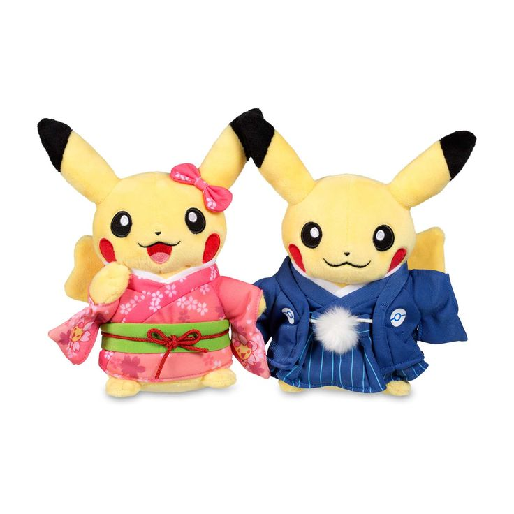 Official Paired Pikachu Celebrations Plush. Ready to celebrate New Year's in traditional hakama for the male Pikachu and kimono for the female Pikachu.