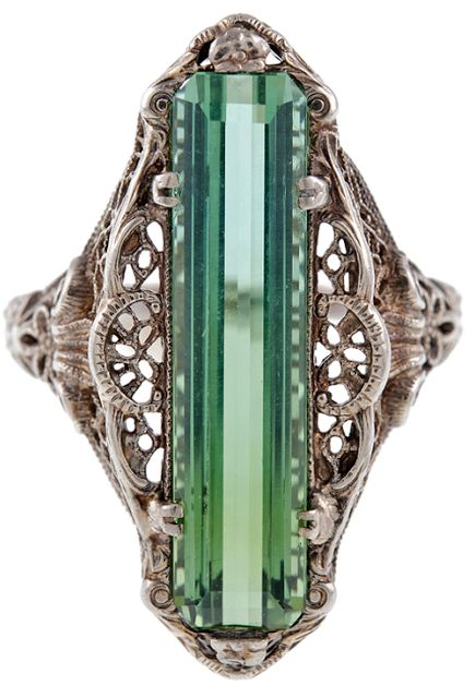 Antique green tourmaline filigree ring, circa 1880, antique jewelry, white gold, heirloom, cocktail ring, dinner ring