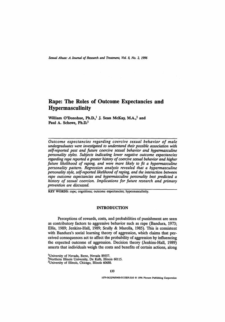 Rape: The roles of outcome expectancies and hyper-masculinity. This article is based on research of relationships between hyper-masculine personality variables and rape outcomes, self-reported likelihood of raping, and forced sexual activity.