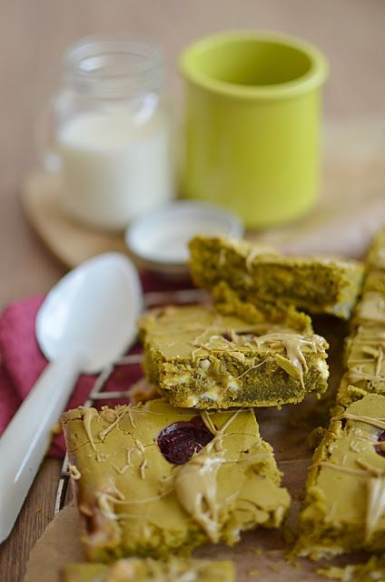 Greenie - Brownie Matcha Framboises Chocolat Blanc // Par faim d'arômes