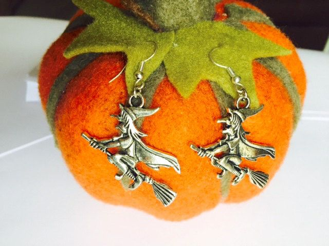 Halloween - Witch Earrings - Fancy Dress - Sterling Silver or Silver Plated by Makewithlovecrafts on Etsy