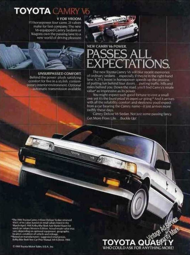 """Toyota Camry V6 """"Passes All Expectations"""" (1988)"""