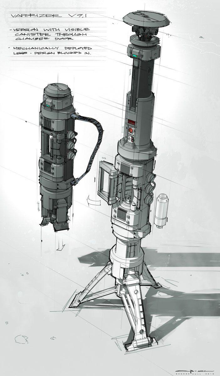 Sintetizador Atmosférico: Espalhado por um enorme extensão de terreno na superfície, este equipamento emite ondas iônicas concentradas, desestabilizando as cadeias moleculares para o qual ele está programado. Resumindo, é um purificador de ar, a nível microscópio.