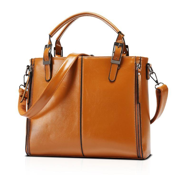 New high-end large oil wax handbag shoulder bag big bag Messenger female killer in Europe and America portable package 4 colors