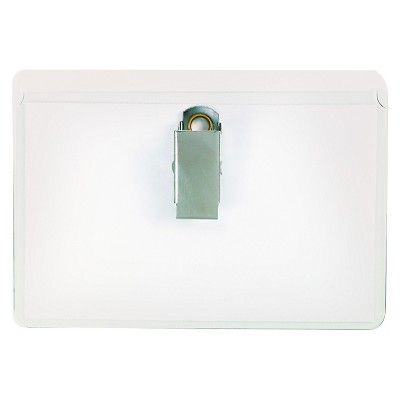 Universal Clear Badge Holders with Garment-Safe Clips, 2 1/4 x 3 1/2, White Inserts, 50/Box, Size: Small