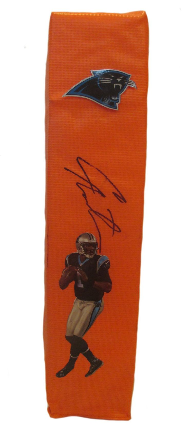 Cam Newton signed Carolina Panthers full size football touchdown end zone pylon w/ proof photo.  Proof photo of Cam signing will be included with your purchase along with a COA issued from Southwestconnection-Memorabilia, guaranteeing the item to pass authentication services from PSA/DNA or JSA. Free USPS shipping. www.AutographedwithProof.com is your one stop for autographed collectibles from Carolina Panthers & NFL teams. Check back with us often, as we are always obtaining new items.