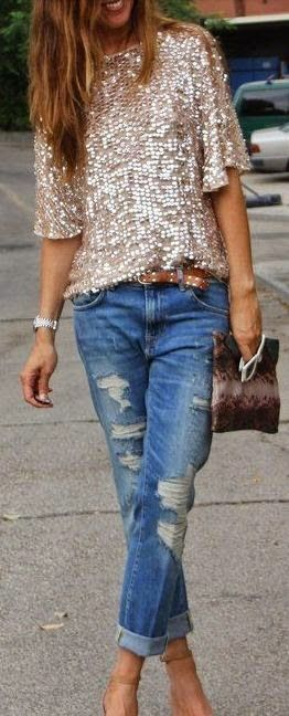 Women's fashion | Simple lilac tee with gold sequined skirt