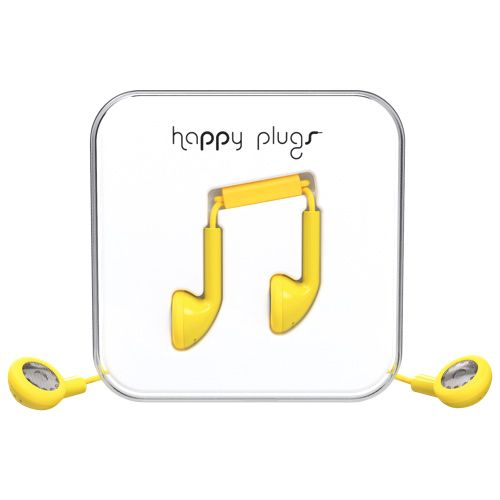 Happy Plugs In-Ear Headphones with Mic - Yellow