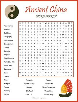 Ancient China Word Search Puzzle:Use this word search puzzle as a fun activity when teaching a unit on Ancient China.  Students will be learning vocabulary and practicing spelling while having fun looking for the hidden words.  They will have to look in all directions and there are some words that overlap.