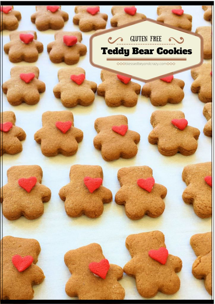 Gluten Free Teddy Bear Cookies - perfect for Valentine's Day! #cookies #teddybear #blessedbeyondcrazy