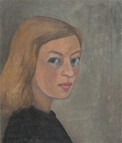 Self portrait by Eva Cederström, 1944, oil on canvas, 44 x 32 cm. (17.3 x 12.6 in.)