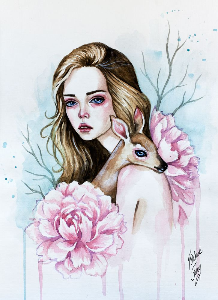 Girl with fawn by BlackFurya on DeviantArt
