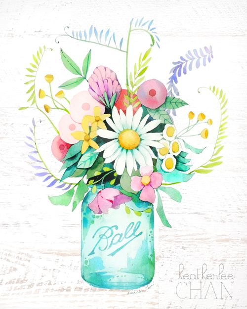 Cheerful, almost cartoon-like blooms bursting out of a pastel Mason jar: Perfect for gallery walls...or even just an empty wall. Heatherlee Chan; $20 from the Country Living Shop   - CountryLiving.com