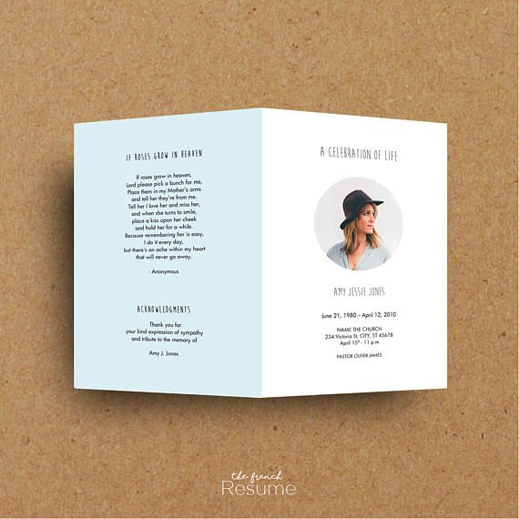 9 best Memorial Announcements images on Pinterest Card ideas - celebration of life templates