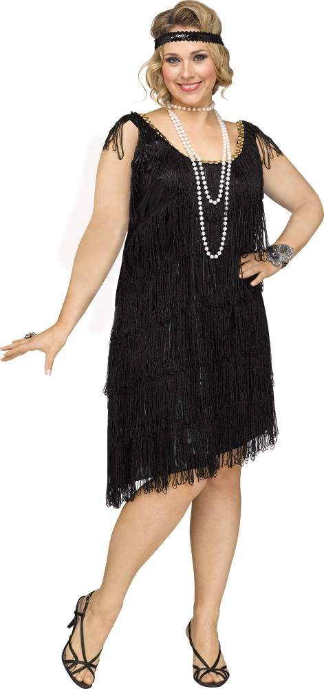 Plus Size Black Shimmery Flapper Costume - Candy Apple Costumes - Plus Size 20's Costumes