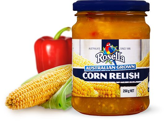 Corn Relish This sensational corn relish is packed with succulent corn kernels, onion, celery and capsicum pieces. Truly a classic recipe to treat your tastebuds to. It's no wonder it's a favourite on sandwiches and wraps, or to compliment cold meat or a homemade burger.  Available in 250g jar.