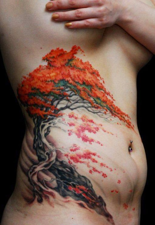 Nice japanese bonsai tree tattoo on ribs...omg in love inspiration for my next tat...
