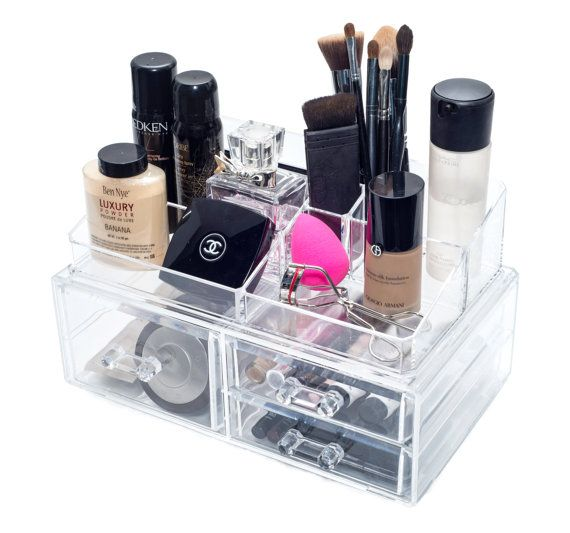 Large Acrylic Makeup Organizer Makeup Box Cosmetic by MsCubie