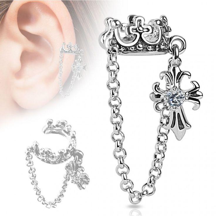 Faux piercing oreille couronne chaine