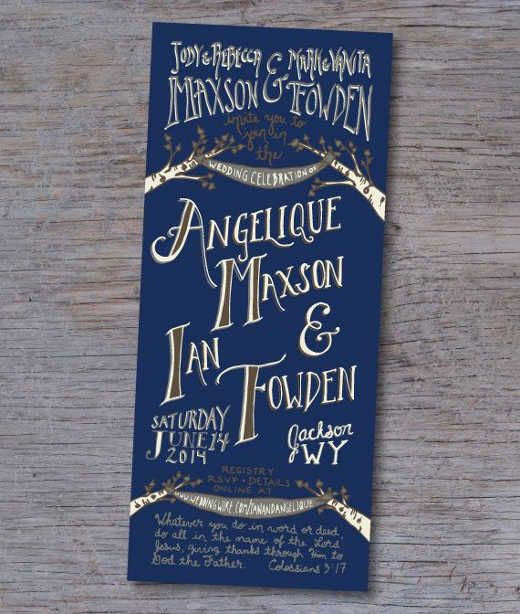 //SAMPLE// of the Navy Fall Wedding Invitation//       This handlettered Navy Fall wedding invitation is perfect for any wedding with a vintage,