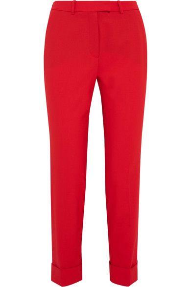 Cefinn - Cropped Stretch-wool Slim-leg Pants - Red - UK14