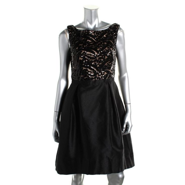 ML Monique Lhuillier Womens Sequined Sleeveless Party Dress