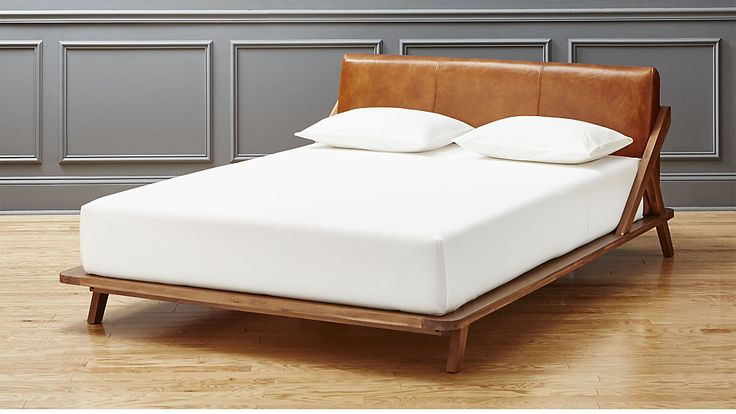 drommen acacia queen bed with leather headboard CB2 for $1599