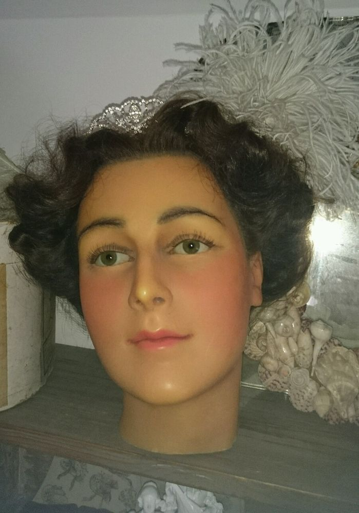 Stunning Vintage Female Wax Mannequin Head Ebay
