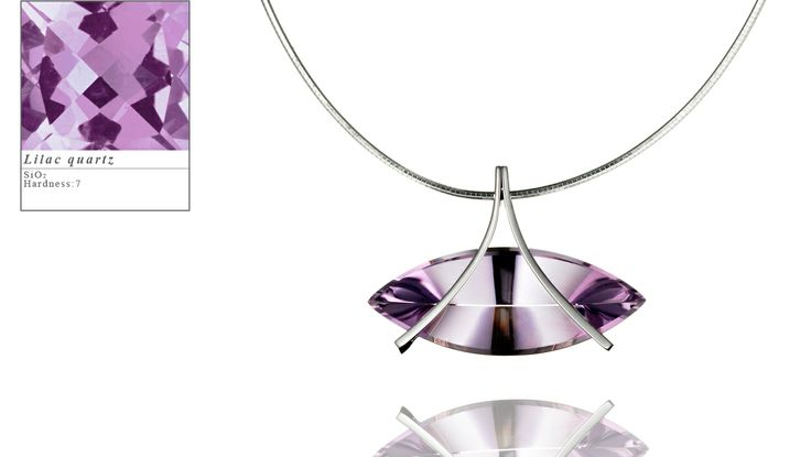 Simon Pure's Reflections pendant set with a 39ct (approx.) marquise mirror cut lilac quartz.