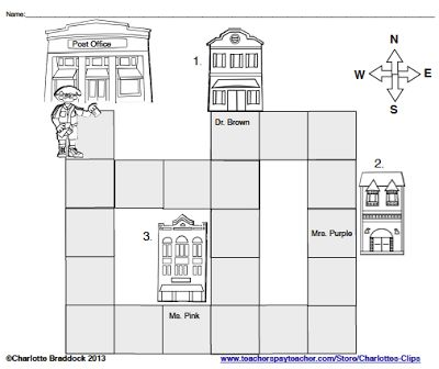 Free Mapping and word problem printable  with sample questions and answer key from Charlotte's Clips and Kindergarten Kids