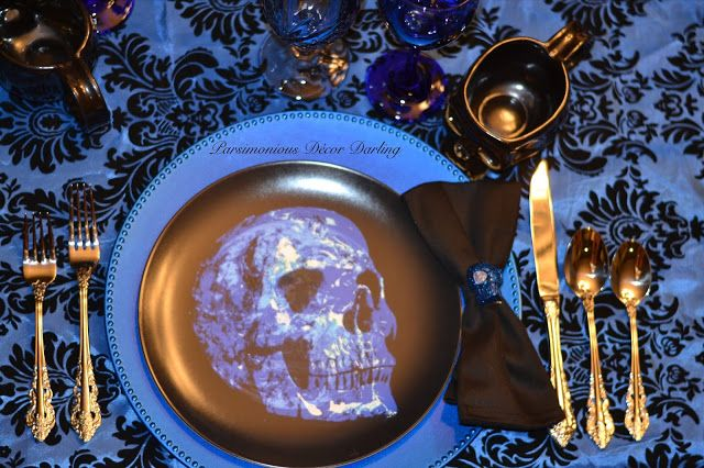 An elegant Gothic/Victorian Halloween place setting inspired by Manic Panic's Shocking Blue