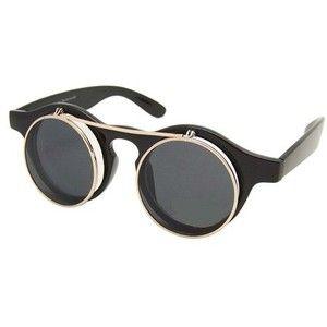 Steampunk Goggles Glasses Retro Flip Up Round Sunglasses Vtg Lady Gaga Style A1