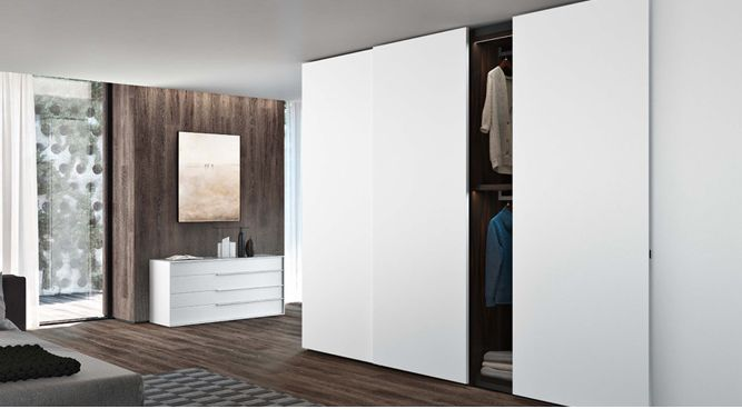 The Plana Sliding Door Wardrobe designed by the Italian Designer, Jesse is a modular robe system incorporating elegance with its straight finishes and variety of door options.