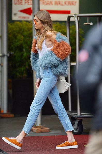 Gigi Hadid wearing our straight cut jeans was seen in Midtown Manhattan on January 18 2017 in New York