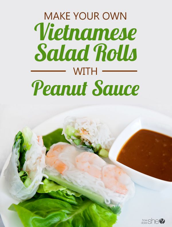 Food and Drink. Vietnamese salad rolls with peanut sauce - right at home! howdoesshe.com