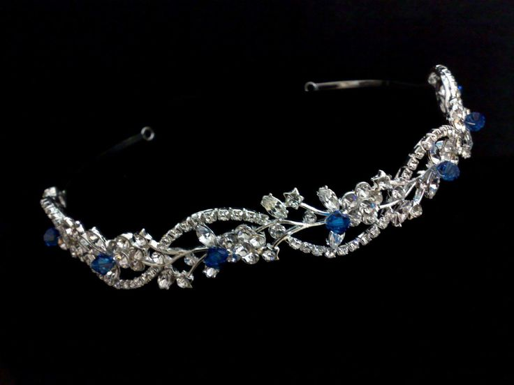 something blue bridal tiara swarovski crystal wedding hair jewelry custom color headband adorna
